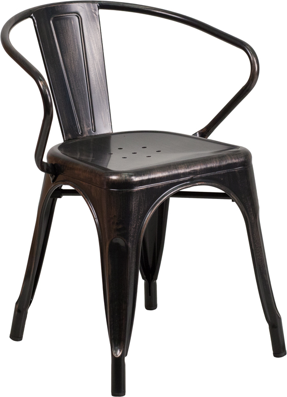 Black chiavari chairs with gold cushion - Black Antique Gold Metal Indoor Outdoor Chair With Arms Ch 31270 Bq