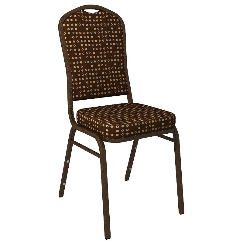 """Embroidered Culp Fine Tune Cocoa Fabric Upholstered Crown Back Banquet Chair - Gold Vein Frame <span class=""""product-code"""">[FD-C01-GV-CULP-FINETUNE-COCOA-EMB-GG]</span>"""