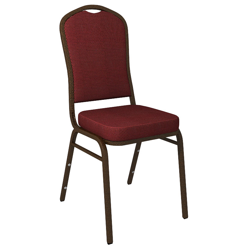 """Embroidered Culp Gavotte Burgundy Fabric Upholstered Crown Back Banquet Chair - Gold Vein Frame <span class=""""product-code"""">[FD-C01-GV-CULP-GAVOTTE-BURGUNDY-EMB-GG]</span>"""