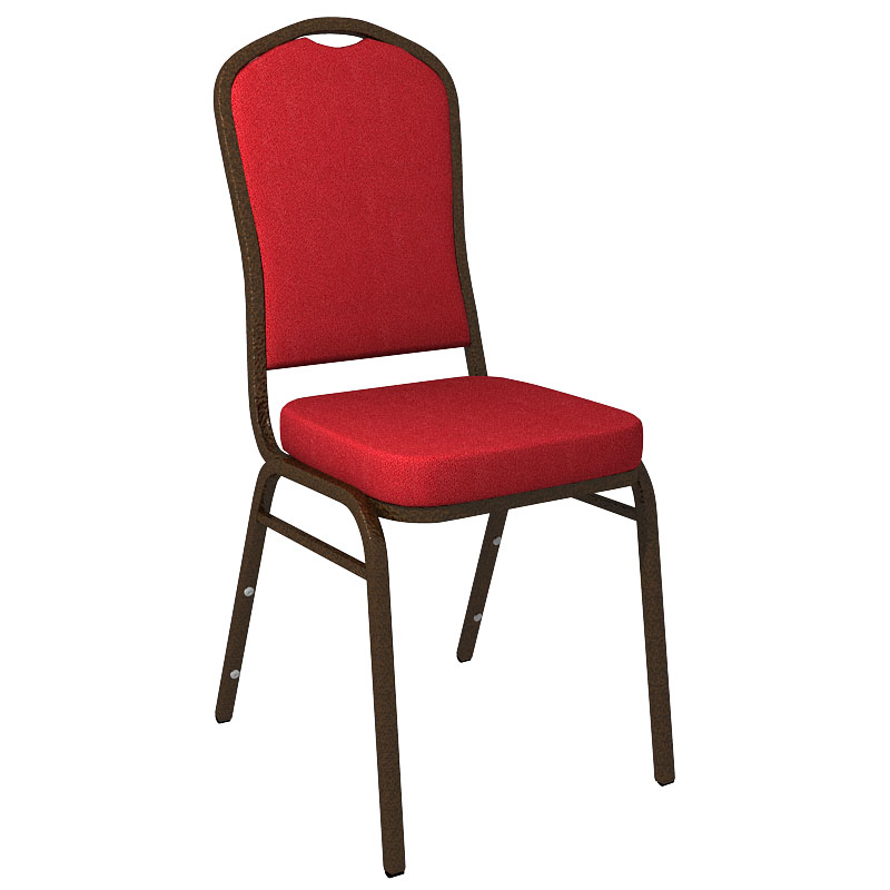 """Embroidered Culp Montgomery Red Pepper Fabric Upholstered Crown Back Banquet Chair - Gold Vein Frame <span class=""""product-code"""">[FD-C01-GV-CULP-MONTGOMERY-RED-PEPPER-EMB-GG]</span>"""