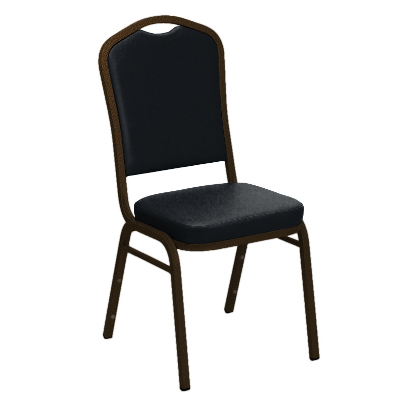 "Embroidered E-Z Madrid Blue Vinyl Upholstered Crown Back Banquet Chair - Gold Vein Frame <span class=""product-code"">[FD-C01-GV-4489-BLUE-EMB-GG]</span>"