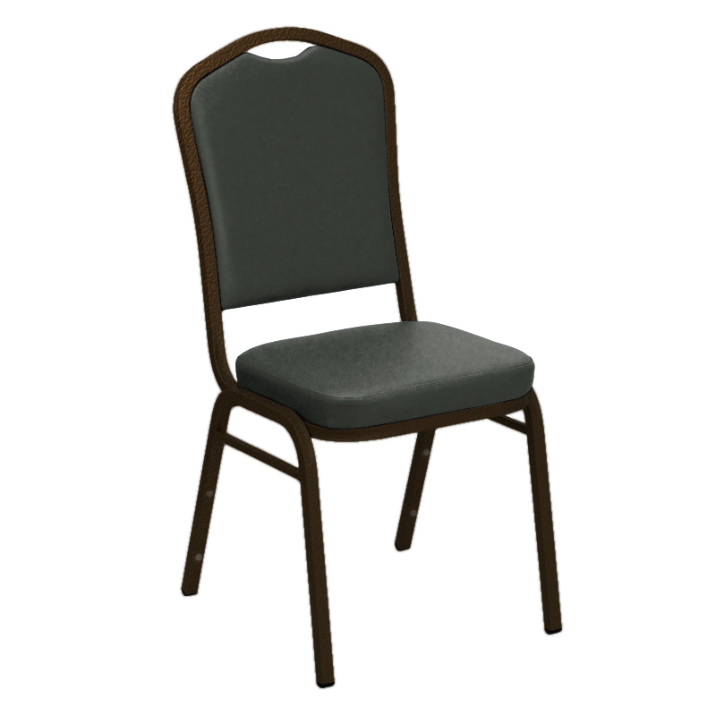 "Embroidered E-Z Montana Smoke Vinyl Upholstered Crown Back Banquet Chair - Gold Vein Frame <span class=""product-code"">[FD-C01-GV-6110-SMOKE-EMB-GG]</span>"