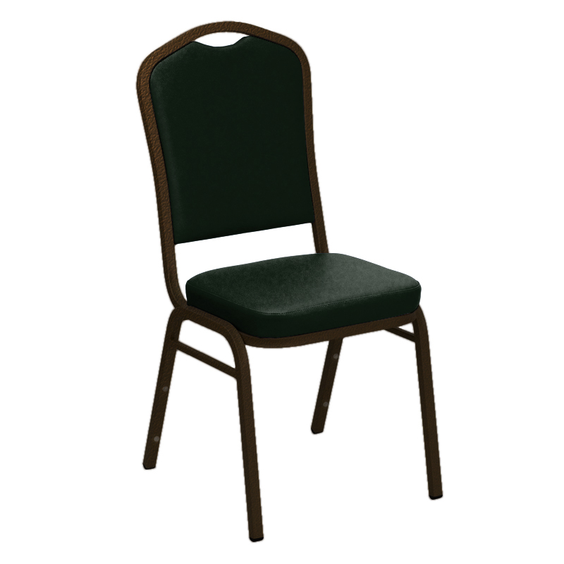 "Embroidered E-Z Oxen Green Vinyl Upholstered Crown Back Banquet Chair - Gold Vein Frame <span class=""product-code"">[FD-C01-GV-4564-GREEN-EMB-GG]</span>"