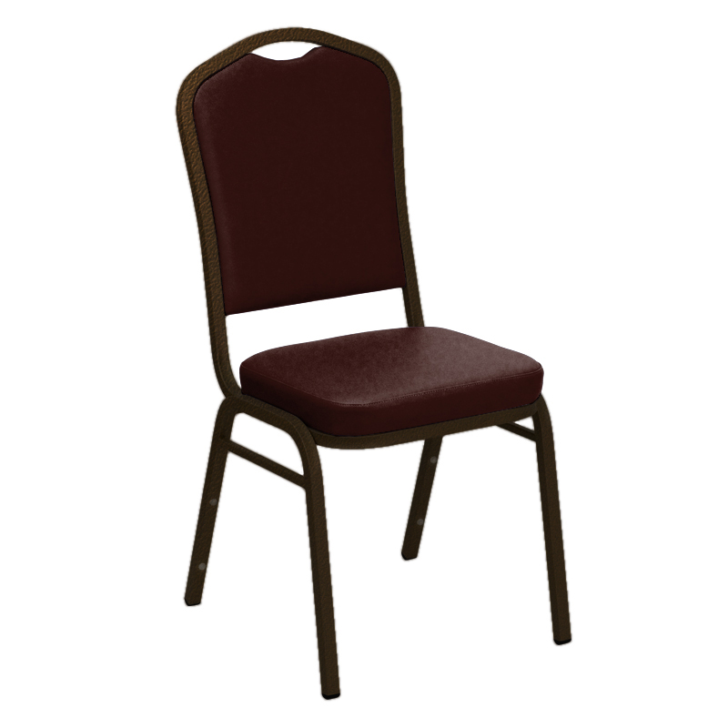 "Embroidered E-Z Oxen Maroon Vinyl Upholstered Crown Back Banquet Chair - Gold Vein Frame <span class=""product-code"">[FD-C01-GV-4568-MAROON-EMB-GG]</span>"