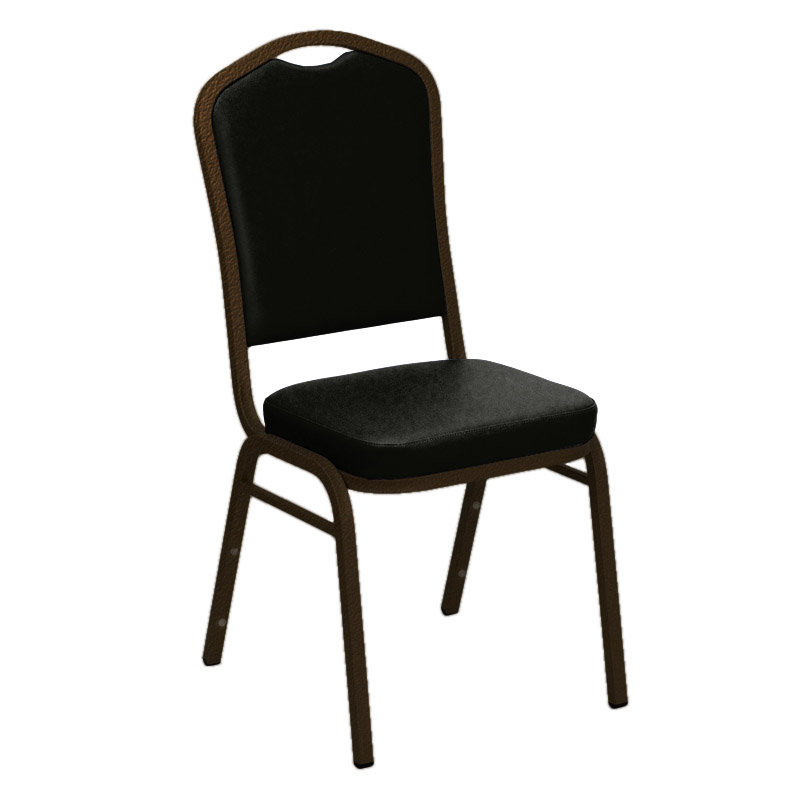 "Embroidered E-Z Sierra Black Vinyl Upholstered Crown Back Banquet Chair - Gold Vein Frame <span class=""product-code"">[FD-C01-GV-0958-BLACK-EMB-GG]</span>"