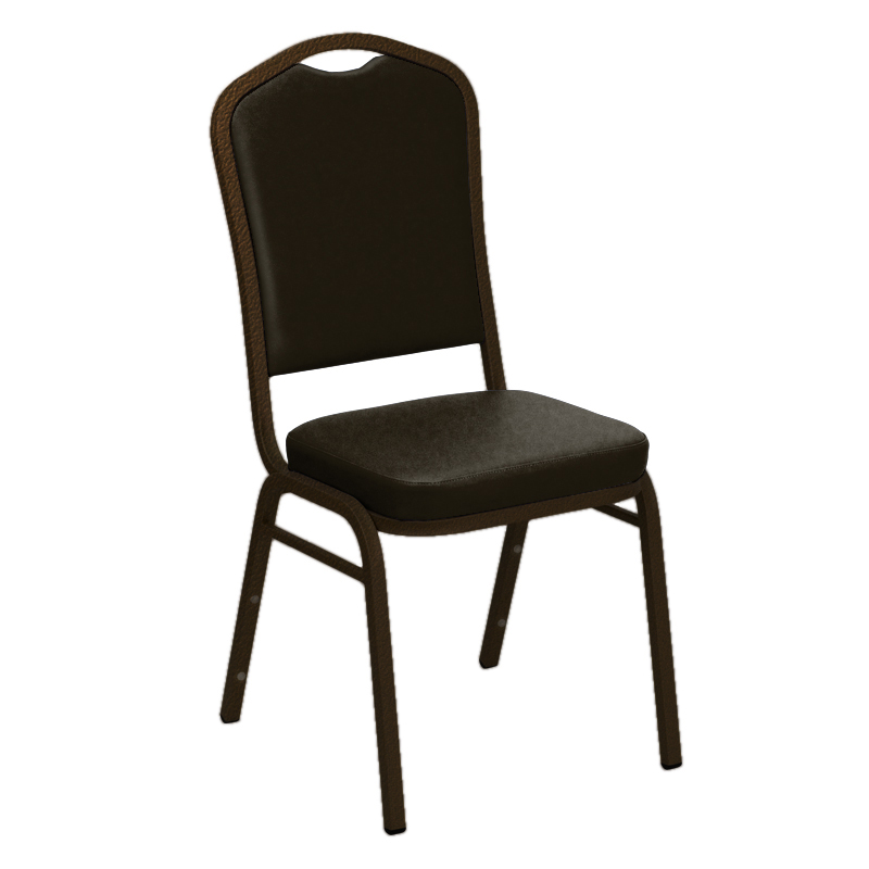 "Embroidered E-Z Sierra Brown Vinyl Upholstered Crown Back Banquet Chair - Gold Vein Frame <span class=""product-code"">[FD-C01-GV-4834-BROWN-EMB-GG]</span>"