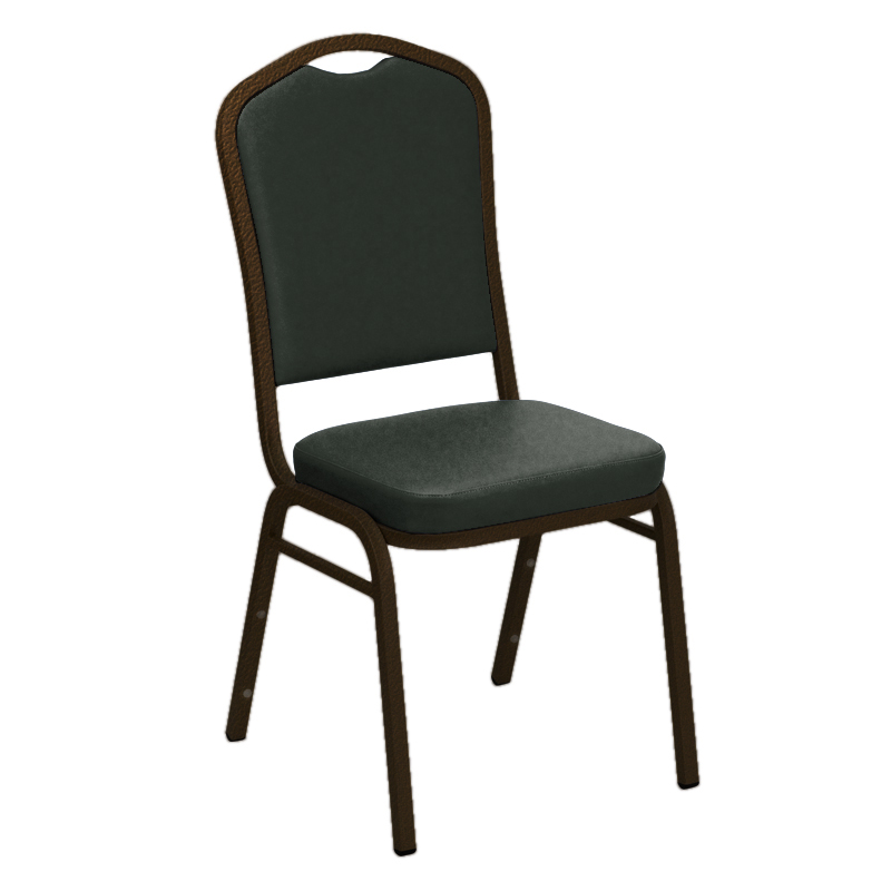 "Embroidered E-Z Sierra Grey Vinyl Upholstered Crown Back Banquet Chair - Gold Vein Frame <span class=""product-code"">[FD-C01-GV-6057-GREY-EMB-GG]</span>"
