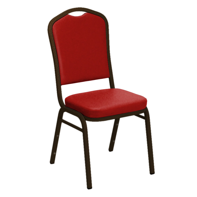 "Embroidered E-Z Sierra Red Vinyl Upholstered Crown Back Banquet Chair - Gold Vein Frame <span class=""product-code"">[FD-C01-GV-1000-RED-EMB-GG]</span>"