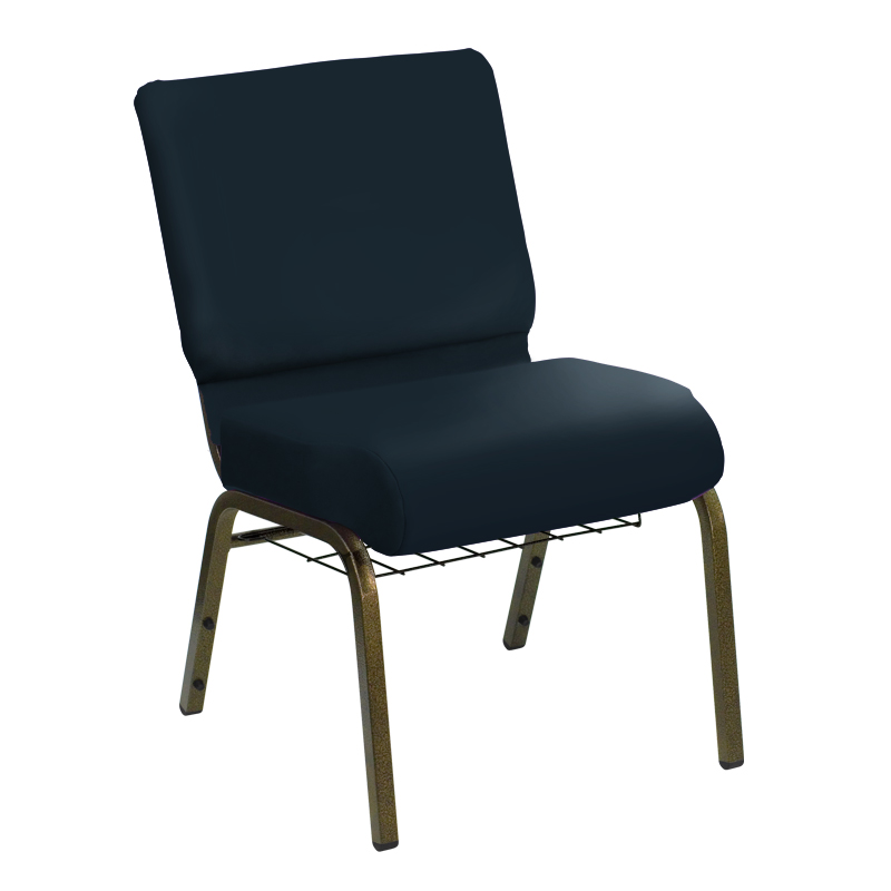 "HERCULES Series 21'' Extra Wide E-Z Sierra Royal Vinyl Church Chair with Book Basket and Gold Vein Frame <span class=""product-code"">[FD-CH-21-GV-UNP-5943-ROYAL-BAS-GG]</span>"
