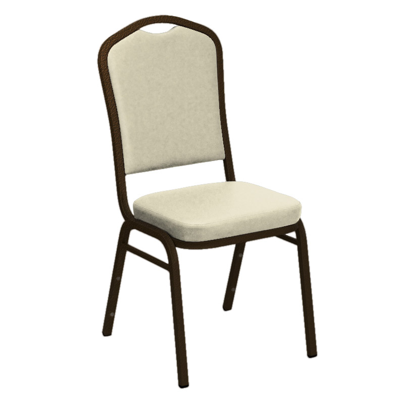 "Embroidered E-Z Sierra White Vinyl Upholstered Crown Back Banquet Chair - Gold Vein Frame <span class=""product-code"">[FD-C01-GV-3718-WHITE-EMB-GG]</span>"