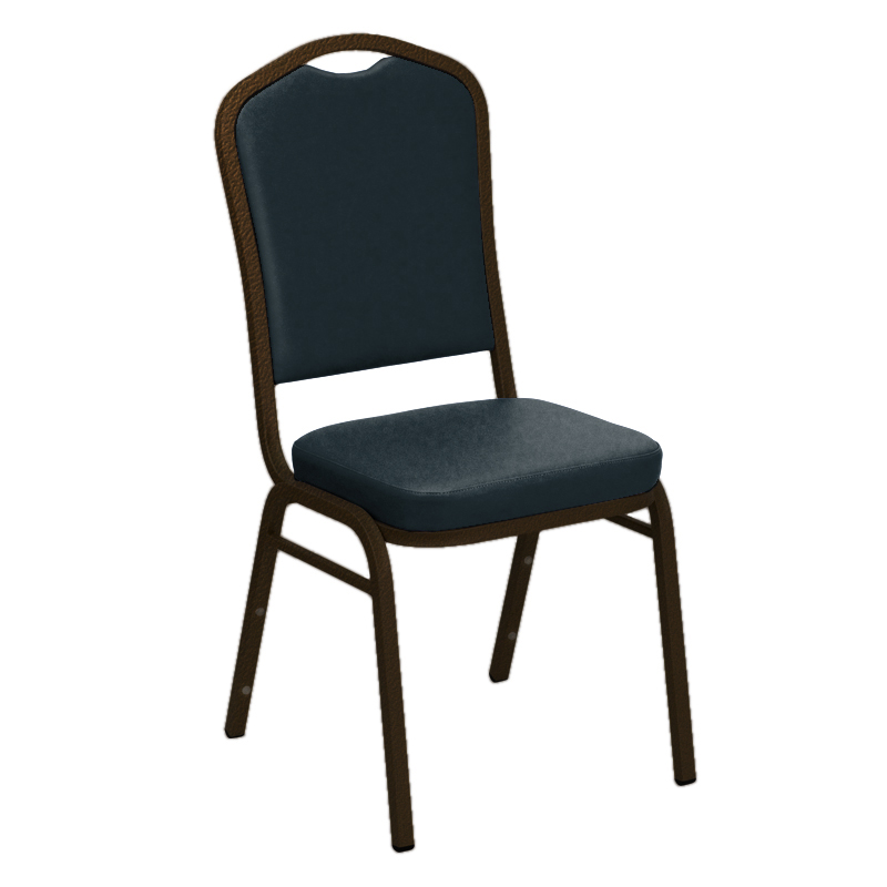 "Embroidered E-Z Wallaby Blue Vinyl Upholstered Crown Back Banquet Chair - Gold Vein Frame <span class=""product-code"">[FD-C01-GV-5005-BLUE-EMB-GG]</span>"