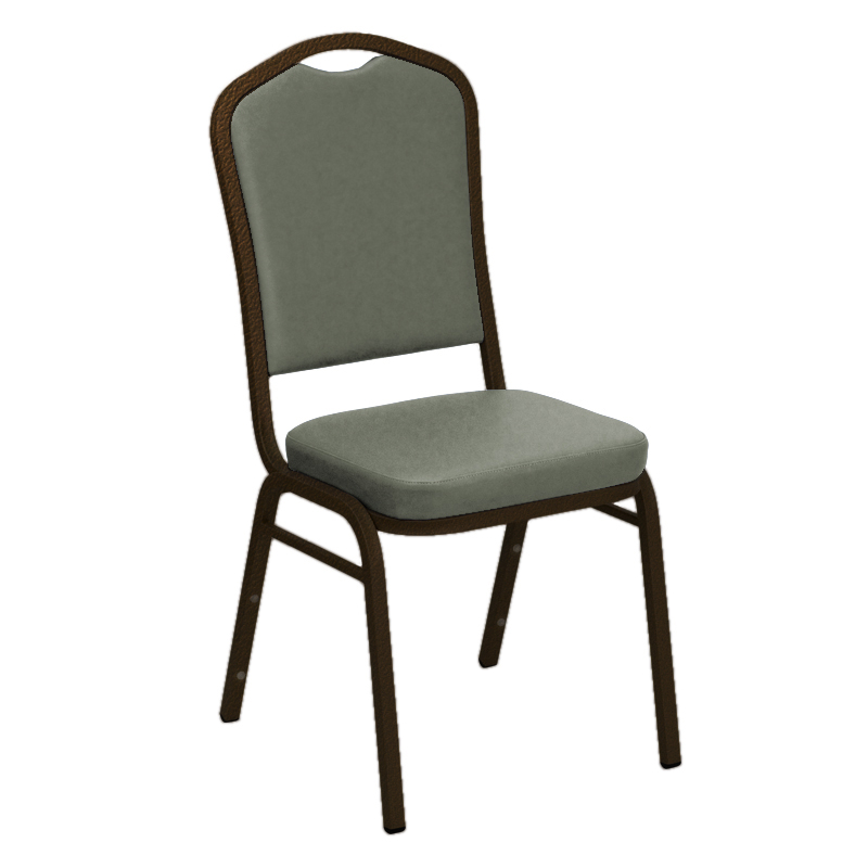 "Embroidered E-Z Wallaby Grey Vinyl Upholstered Crown Back Banquet Chair - Gold Vein Frame <span class=""product-code"">[FD-C01-GV-5016-GREY-EMB-GG]</span>"