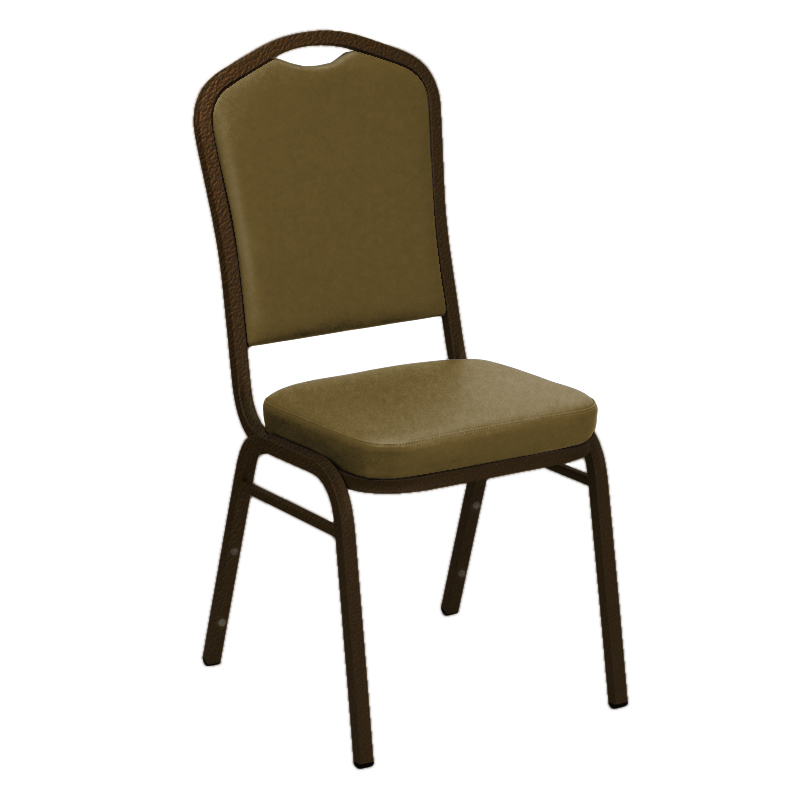 "Embroidered E-Z Wallaby Tan Vinyl Upholstered Crown Back Banquet Chair - Gold Vein Frame <span class=""product-code"">[FD-C01-GV-5006-TAN-EMB-GG]</span>"