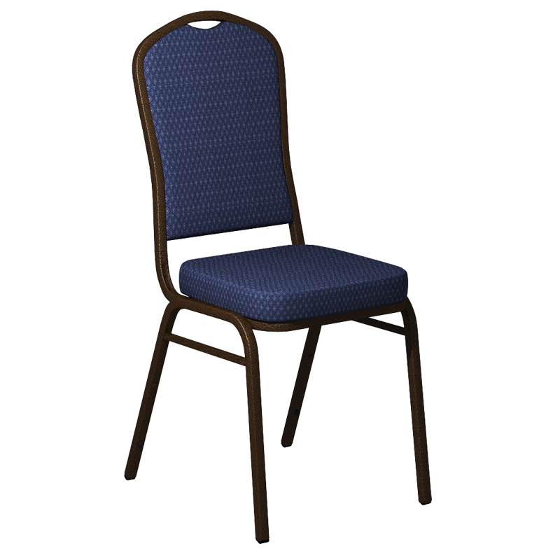 """Embroidered Biltmore Patriot Blue Fabric Upholstered Crown Back Banquet Chair - Gold Vein Frame <span class=""""product-code"""">[FD-C01-GV-BILT-015-EMB-GG]</span>"""
