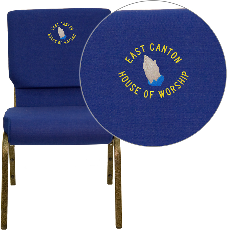"Embroidered HERCULES Series 18.5''W Navy Blue Fabric Stacking Church Chair with 4.25'' Thick Seat - Gold Vein Frame <span class=""product-code"">[XU-CH-60096-NVY-EMB-GG]</span>"