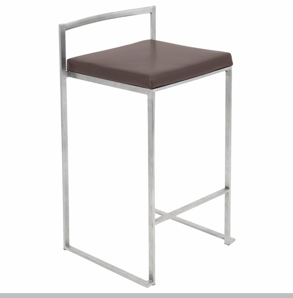 Fuji 27 H Stackable Armless Counter Stool With Stainless