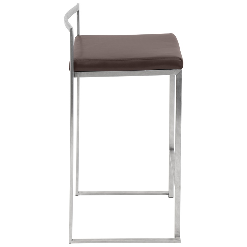 Fuji 27H Stackable Armless Counter Stool With Stainless