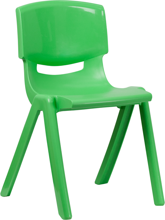"Green Plastic Stackable School Chair with 18'' Seat Height <span class=""product-code"">[YU-YCX-007-GREEN-GG]</span>"