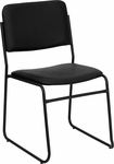 HERCULES Series 1000 lb. Capacity High Density Black Vinyl Stacking Chair with Sled Base [XU-8700-BLK-B-VYL-30-GG]