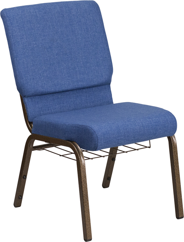 "HERCULES Series 18.5''W Church Chair in Blue Fabric with Cup Book Rack - Gold Vein Frame <span class=""product-code"">[FD-CH02185-GV-BLUE-BAS-GG]</span>"