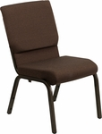 HERCULES Series 18.5''W Brown Fabric Stacking Church Chair with 4.25'' Thick Seat - Gold Vein Frame [XU-CH-60096-BN-GG]