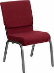 HERCULES Series 18.5''W Stacking Church Chair in Burgundy Fabric - Silver Vein Frame [XU-CH-60096-BY-SILV-GG]