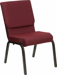 HERCULES Series 18.5''W Burgundy Patterned Fabric Stacking Church Chair with 4.25'' Thick Seat - Gold Vein Frame [XU-CH-60096-BYXY56-GG]