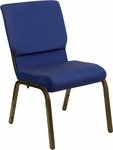 HERCULES Series 18.5''W Navy Blue Patterned Fabric Stacking Church Chair with 4.25'' Thick Seat - Gold Vein Frame [XU-CH-60096-NVY-DOT-GG]