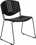 HERCULES Series 400 lb. Capacity Black Plastic Stack Chair with Black Frame [RUT-NF02-BK-GG]