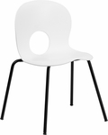 HERCULES Series 770 lb. Capacity Designer White Plastic Stack Chair with Black Frame [RUT-NC258-WHITE-GG]