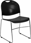 HERCULES Series 880 lb. Capacity Black High Density, Ultra Compact Stack Chair with Chrome Frame [RUT-188-BK-CHR-GG]