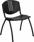 HERCULES Series 880 lb. Capacity Black Plastic Stack Chair with Black Frame [RUT-NF01A-BK-GG]