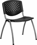 HERCULES Series 880 lb. Capacity Black Plastic Stack Chair with Titanium Frame [RUT-F01A-BK-GG]