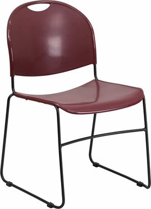 HERCULES Series 880 lb. Capacity Burgundy Ultra Compact Stack Chair with Black Frame [RUT-188-BY-GG]