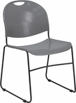 HERCULES Series 880 lb. Capacity Gray High Density, Ultra Compact Stack Chair with Black Frame [RUT-188-GY-GG]