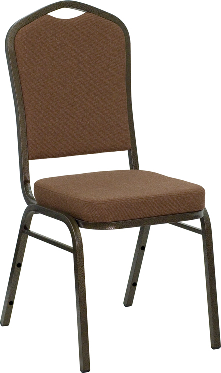 """HERCULES Series Crown Back Stacking Banquet Chair with Coffee Fabric and 2.5'' Thick Seat - Gold Vein Frame <span class=""""product-code"""">[NG-C01-COFFEE-GV-GG]</span>"""