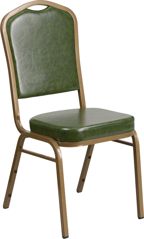 Hercules series crown back stacking banquet chair with green vinyl and