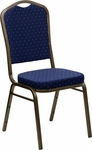 HERCULES Series Crown Back Stacking Banquet Chair with Navy Blue Patterned Fabric and 2.5'' Thick Seat - Gold Vein Frame [FD-C01-GOLDVEIN-S0810-GG]