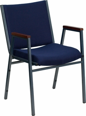 HERCULES Series Heavy Duty Navy Blue Dot Fabric Stack Chair with Arms and Ganging Bracket [XU-60154-NVY-GG]