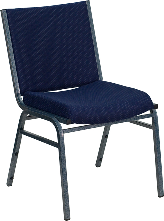 Hercules Series Heavy Duty 3 Thickly Padded Navy Blue Patterned Upholstered Stack Chair With Ganging Bracket