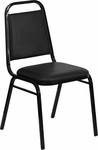 HERCULES Series Trapezoidal Back Stacking Banquet Chair with Black Vinyl and 1.5'' Thick Seat - Black Frame [FD-BHF-2-GG]