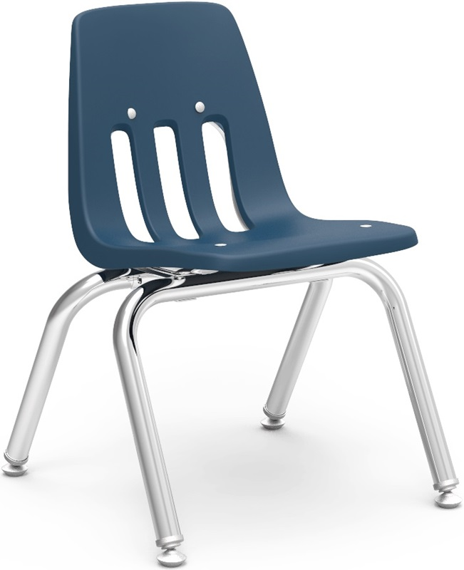 "Quick Ship 9000 Classic Series Stack Chair with 12''H Polypropylene Seat and Chrome Frame - Navy - 14.63''W x 15''D x 20.38''H <span class=""product-code"">[9012-BLU51-CHRM-vco]</span>"