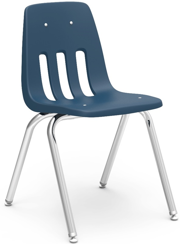 "Quick Ship 9000 Classic Series Stack Chair with 16''H Polypropylene Seat and Chrome Frame - Navy - 16.75''W x 19.5''D x 27''H <span class=""product-code"">[9016-BLU51-CHRM-vco]</span>"