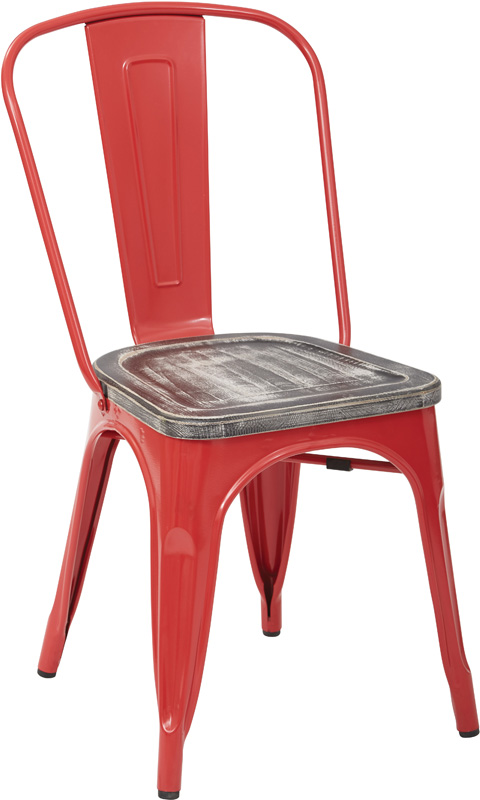 osp designs bristow metal chair with vintage wood seat set of 4 red and ash crazy horse - Vintage Wooden Dining Chairs