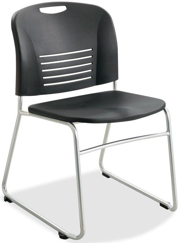 Safco Black Plastic Stacking Armless Chairs With Sled Base And Steel Frame