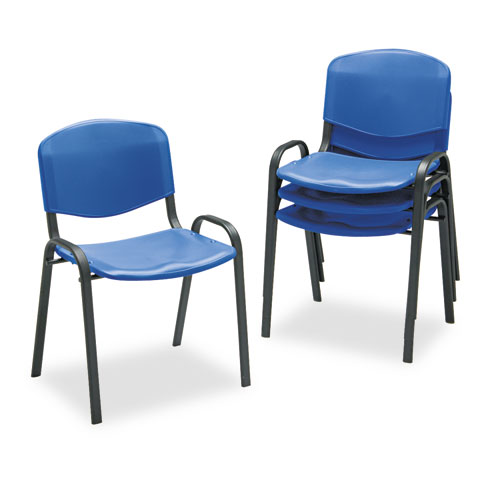 "Safco® Contour Stacking Chairs,  Blue w/Black Frame,  4/Carton <span class=""product-code"">[SAF4185BU-FS-nat]</span>"