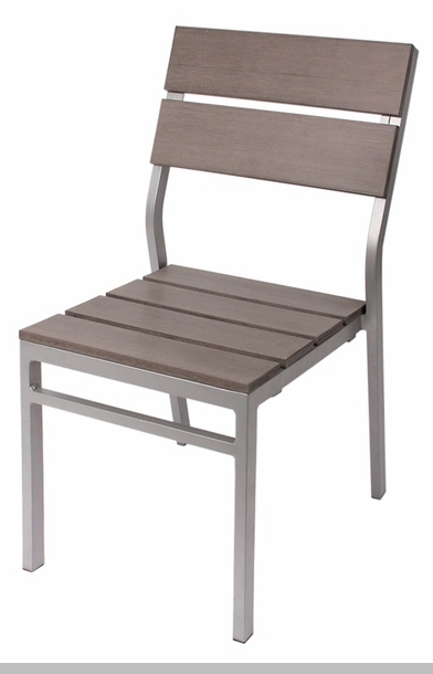 Seaside Aluminum Stacking Arm Chair Soft Gray