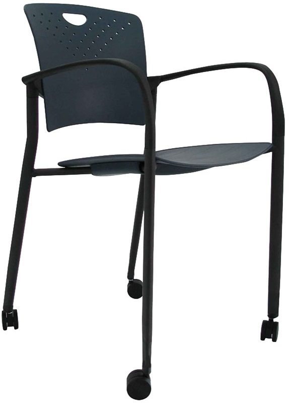 "Staq Chairs 21.6'' W x 22'' D x 30'' H with Casters - Navy <span class=""product-code"">[STAQCASNVY-FS-euro]</span>"