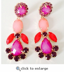 Celine Red & Violet Earrings