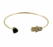 Open Hamsa Bangle Black